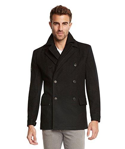 Jack & Jones Men's EURO Slim Fit Wool Peacoat Jacket by Tim Black-Large - Mens Peacoat Jackets