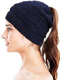 Knit Beanie Hat - Stay Warm & Stylish - Ponytail Messy Bun Beanie - Thick, Soft & Chunky Beanie Hats for Women & Men