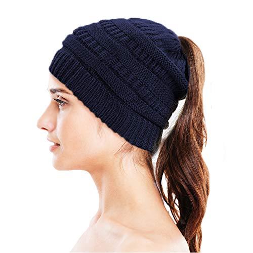 Tomiya Knit Beanie Hat - Stay Warm & Stylish - Ponytail Messy Bun Beanie - Thick, Soft & Chunky Beanie Hats for Women & Men