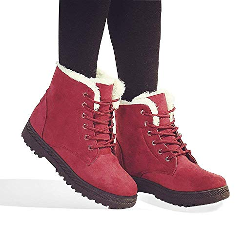 Price comparison product image Baseu Women's Winter Snow Boots Plus Warm Cotton with Flat Sneaker Shoes (6,  Red)