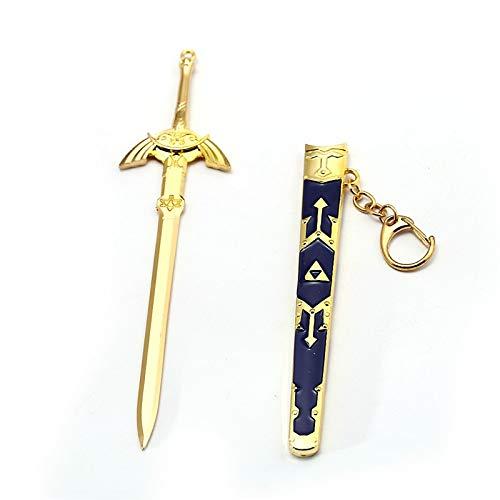 Value-Smart-Toys - New Game The Legend Of Zelda Keychain Master Sword Metal 17cm Gold Pendant Key Chain Ring Holder Men Souvenir llaveros ()