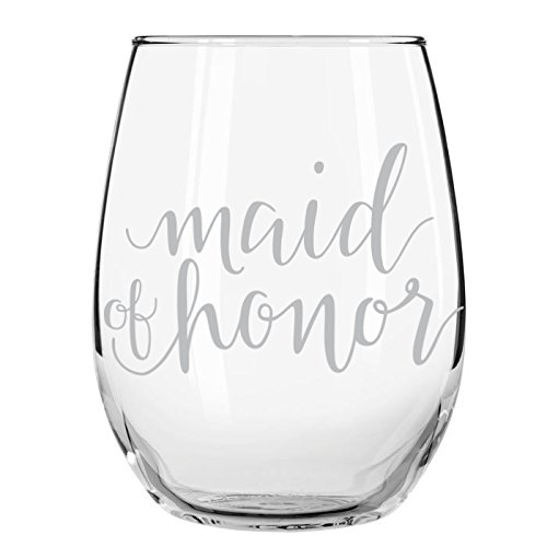 Honor Glass - Maid of Honor, Wedding Party Stemless Wine Glass, 15 oz.