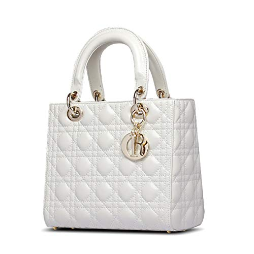Famous Women Solid Color Genuine Leather Diamond Quilted Pattern Handbag Convertible Shoulder Bag Tote bags (white)