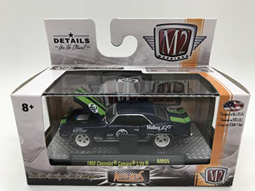 M2 Machines Auto-Mods 1969 Chevrolet Camaro Z/28 1:64 Scale AM05 16-17 Dark Blue/Green Details Like NO Other! Over 42 Parts 1 of 3800