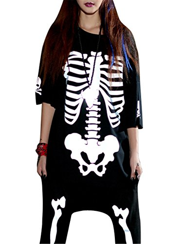 Bandi Das Women's Plus Size Halloween Costume Skeleton Glow In The Dark T-Shirt (Womens Skeleton Costume Glow Dark)