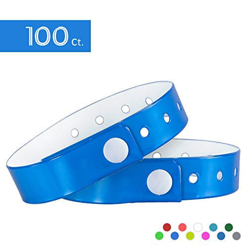 Ouchan Neon Blue Plastic Wristbands - 100 Pack Wristbands For Events Club Music Meeting Party Festival