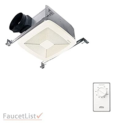 Broan QTXE150 Energy Star Powerful 150 CFM Quiet 1.4 Sones Ceiling Mount Bath Exhaust Ventilation Fan INCLUDES Dehumidistat Automatic Humidity Sensing Wall Control Kit