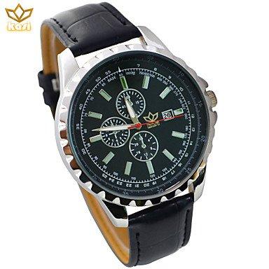 DUI lijun 2016 Hombre Esfera Redonda Reloj Informal Correa de cuero reloj de cuarzo de moda reloj de pulsera (colores surtidos), Negro: Amazon.es: Relojes