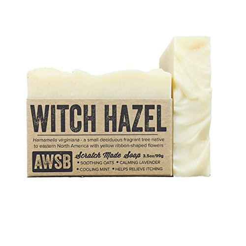 Witch Hazel Bar Soap with Lavender & Peppermint, Vegan, Soothing, All Natural with Organic Ingredients, Handmade by A Wild Soap Bar
