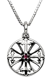 """Sterling Silver Cross Compass Pendant w/Red Crystal Stone & 20"""" Box Chain"""