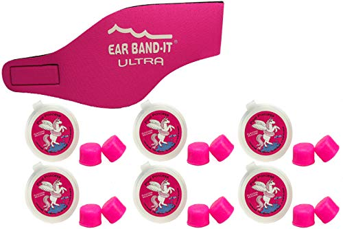 Ear Band-It Ultra Swimming Headband with Putty Buddies earplugs - 6 Pair Soft Silicone Premium Ear Plugs - The Best Swim Headband and Earplugs - Doctor Recommended (Hot Pink, Small)