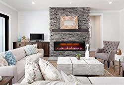 Mystflame Electric Fireplace, in-Wall Recessed or Wall Mounted Fireplace Heater, Slim Frame Linear Fireplace with Log & Crystal Hearth Options, Multicolor Flame, and Remote Control from microclimate