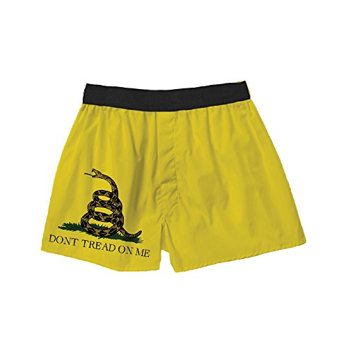 Don't Tread On Me Gadsden Flag Rattlesnake Yellow Boxer Shorts for Men by Brief Insanity