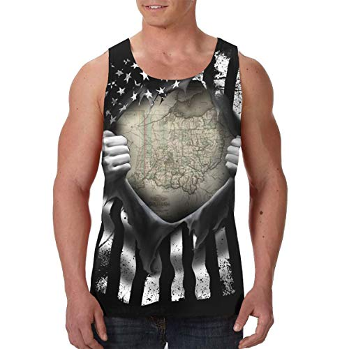 Summermf Mens State of Ohio Map Pull Apart 3D Printed Casual Tank Top Sleeveless Graphics Tees Black ()