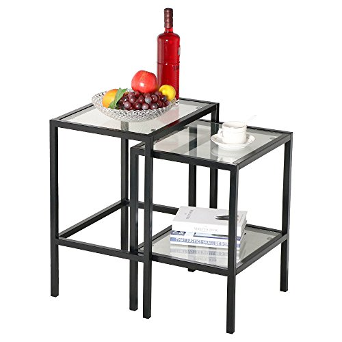 Eight24hours Pair of Modern Black Metal Frame Glass Top Nesting Side End Tables Set of 2