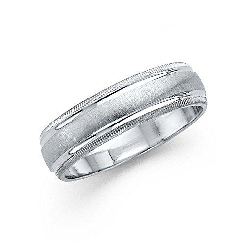 Milgrain Wedding Band Solid 14k White Gold Ring Brushed Finish Diamond Cut Style Fancy 6 mm Size - 14k Finish Brushed