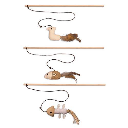 ecoworks Premium Katzenspielzeug |natürliche robuste Spielangel mit Maus | Stofftier 3er Set zur Katzenbeschäftigung…