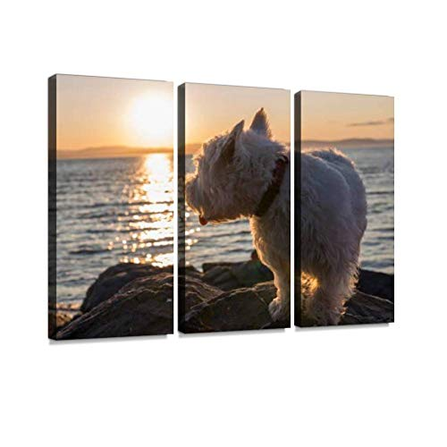 (YKing1 west Highland White Terrier a Very Good Looking Dog Wall Art Painting Pictures Print On Canvas Stretched & Framed Artworks Modern Hanging Posters Home Decor 3PANEL)