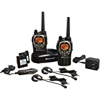 Midland TWO PACK 36-Mile 50-Channel FRS/GMRS Two-Way Radios, NOAA Weather Alert Radio, and 10 Call Alerts, with SOS Siren, JIS4 Waterproof, Pair of Mic Headsets, Belt Clips, Wall & Car Adapter Included, Black/Silver Finish