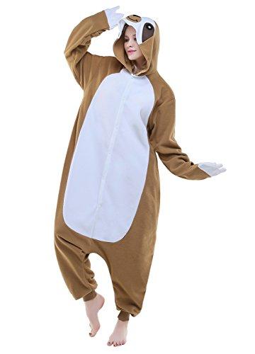 Sloth Costumes (Newcosplay Halloween Fleece oneise adult pajamas (XL, Sloth))
