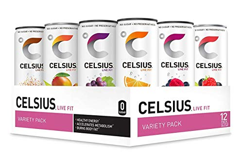 CELSIUS Fitness Drink Original Flavors Variety Pack, ZERO Sugar, 12oz. Slim Can, 12 Pack (Variety Assortment of the 7 Original CELSIUS Sparkling and Non-Carbonated Flavors)