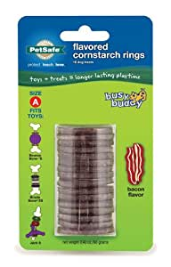 PetSafe Busy Buddy Refill Ring Dog Treats for select Busy Buddy Dog Toys, Bacon Flavored Cornstarch, Size A