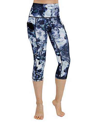ODODOS High Waist Out Pocket Printed Yoga Capris Pants Tummy Control Workout Running 4 Way Stretch Yoga Leggings,CrosstalkNavy,Small