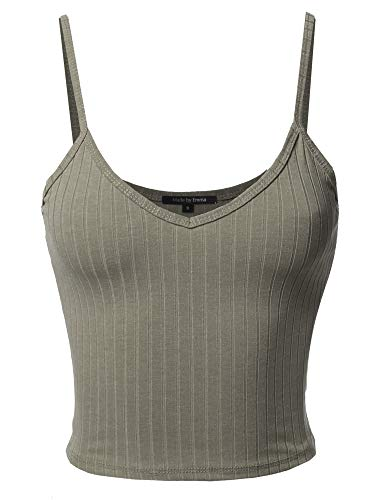Basic Solid Sleeveless Ripped Spaghetti Strap Cami Top Dusty Army L