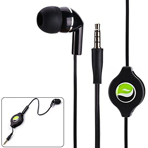 Galaxy Tab S3 9.7 Compatible Premium Retractable Headset Mono Hands-Free Earphone Mic Single Earbud Headphone Earpiece Wired 3.5mm Black for Samsung Galaxy Tab S3 9.7 ()