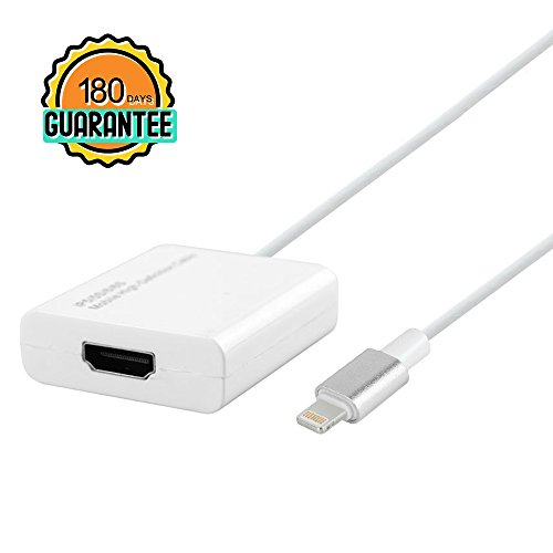 PinPle Lightning to HDMI Adapter Lightning 8 Pin to HDMI Video Cable with Micro USB Charging Cable for