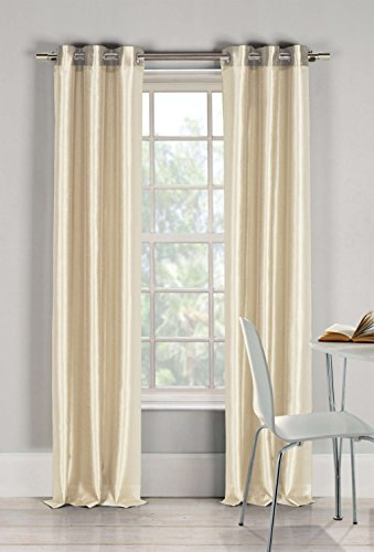 - Duck River Textiles Bali Faux Silk Grommet Top Window Curtain 2 Panel Drape, 54