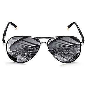 ROCKNIGHT Polarized Aviator Sunglasses for Men Women Metal Flat Top Sunglasses lightweight Driving UV400 Outdoor 58mm