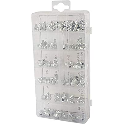 Nisorpa 220pcs Grease Fitting Assortment 110pcs Metric Grease Zerks Fittings Straight 90 Degree 45 Degree Angled Grease Nipples 110pcs Imperial Grease Nipple Set With Plastic Box: Automotive