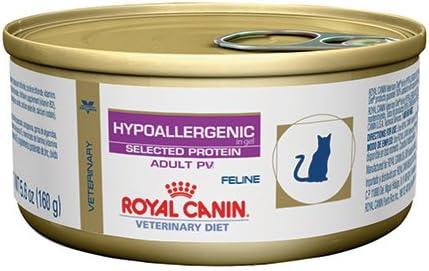 Royal Canin Veterinary Diet Feline Hypoallergenic Potato Venison PV Formula Canned Cat Food 24 5.6 oz case by Royal Canin Veterinary Diet