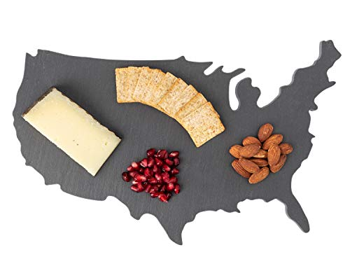 Slate Cheese Board, Perfect Slate Cheese Platter Gift For Serving Appetizers, Wine, Crackers, and Meat, By Vine Hill Kitchen Gifts ()