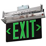 Elco Lighting EDGREC2G Recessed Transparent Edge Lit LED Exit Sign Green or Red Letters Single or Double Face