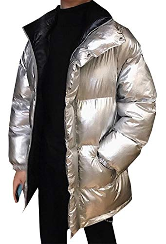 Generic Mens Outwear Metallic Shiny Casual Outdoor Quilted Down Puffer Jacket Coat Silver - Jacket Metallic Quilted