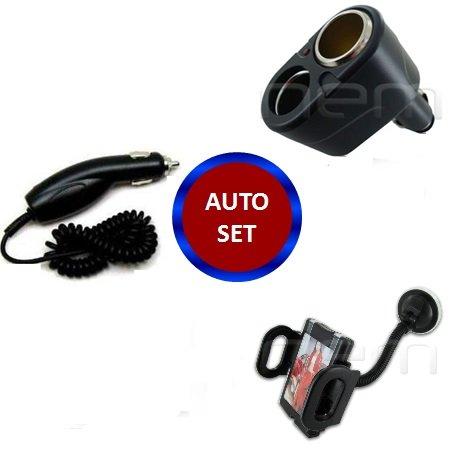 Black Color Auto Set Car Charger & Splitter & Mount Holder For SPRINT ZTE Flash N9500