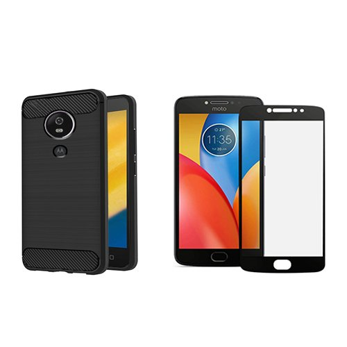 timeless design 68b0e 271ab Motorola Moto E4 Plus Back Case Cover Plus Black Tempered Glass  Combo,Motorola Moto E4 Plus Slim Fit Rugged Armor Carbon Fiber texture  Silicon Back ...