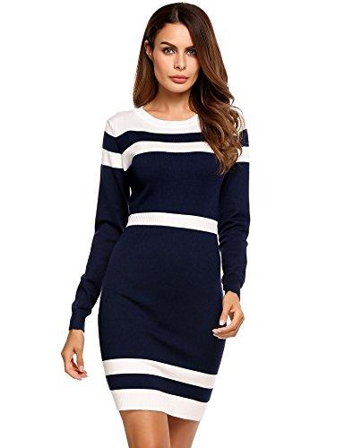 Elesol Women's Casual Long Sleeve Colorblock Striped Wear to Work Sheath Dress,Blue,L