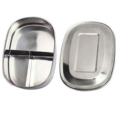 Mikash 1/2/3 Grid Stainless Steel Bento Lunch Box Case Food Containers Storage Ourdoor | Model FDCNTNR - 60 | ()