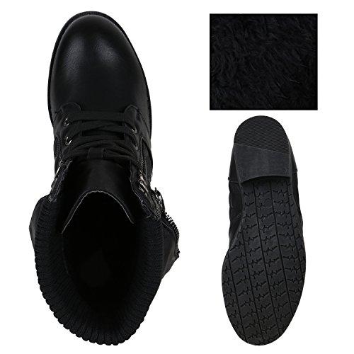 Stiefelparadies - Botas de Material Sintético para mujer negro acolchado