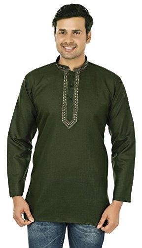 Cotton Mens Short Kurta Shirt Embroidered Dress India Fashion Clothing (Green, L)