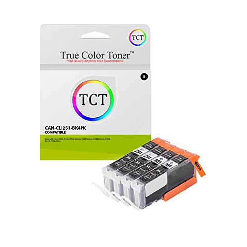 True Color Toner CLI-251 Black 4 Pack CLI251 High Yield Compatible Ink Cartridge Replacement for Canon Pixma MX922 MG5420 MG6320 MX722 IP7220 MG5422 MG7120 MG5520 MG6420 Printers (665 Pages)