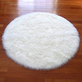 Round Faux Fur Sheepskin Flokati Rug   NEW Made In France (White)