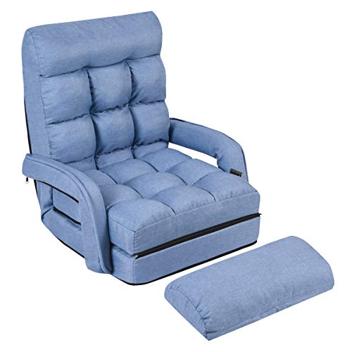 Arm Chair Beds - Giantex Folding Lazy Sofa Floor Chair Sofa Lounger Bed with Armrests and a Pillow Lounger Bed Chaise Couch (Blue)