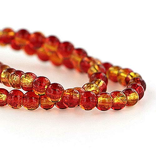 Crackle Orange - 200 Crackle Glass Beads Red Orange Yellow 4mm 1 Strand for Pendant Bracelet DIY Jewelry Making