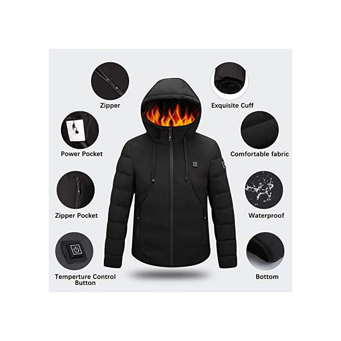 41z5hcF83zL Chaqueta con calefacción eléctrica con capucha: la chaqueta está hecha de algodón, poliéster y material impermeable, que puede ayudar a mantener el calor y evitar el agua y la lluvia. El tamaño de S a XXL es adecuado para casi todos, elija de acuerdo con la tabla de tallas. Grandes áreas de calefacción: el componente de calefacción de la chaqueta térmica está hecho de fibra de carbono importada y tiene grandes áreas de calefacción en la posición de la espalda y la nuca. Con tecnología de calefacción madura, esta chaqueta térmica puede calentarse rápidamente en climas extremadamente fríos. 3 Control de temperatura con calefacción: se pueden seleccionar tres temperaturas con solo presionar un botón en esta chaqueta cálida. Alta temperatura: color rojo (50 ° C), Temperatura media: color azul (40 ° C), Baja temperatura: color verde (30 ° C). El nivel de calentamiento ajustable lo hace ideal para la mayoría de las personas.