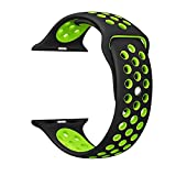 Ostart 42mm Replacement Band/Strap for Apple Watch Nike+, Sport Soft Silicone Wrist Strap with Ventilation Holes for iWatch Series 1 2,M/L Size(Black+Green)