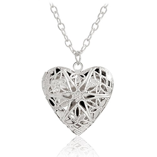 QIHOO Hollow Love Heart DIY Secret Message Locket Necklace Pendant Gift For Lover Couples (Silver)